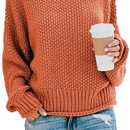 ZKESS Womens Casual Long Sleeve Turtleneck Chunky Knit Pullover Sweater Jumper Tops | Amazon (US)
