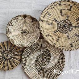 Set 4 Hanger Wall Plate Boho wall art Set of 4 wall baskets   Etsy   Etsy (US)