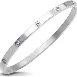 Womens Sparkling Cubic Zirconia Secure Hinge Lock Bangle Bracelet | Amazon (US)