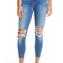 Ripped High Waist Raw Hem Crop Skinny Jeans | Nordstrom