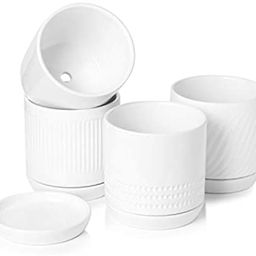 POTEY 053001 Plant Pots with Drainage Holes & Saucer - 5.1 Inch Glazed Ceramic Modern Planters In... | Amazon (US)