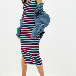 Juicy Couture Black Label Striped Ribbed Knit Sweater Maxi Dress Sleeveless | eBay US