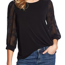 Lace Sleeve Stretch Crepe Blouse   Nordstrom