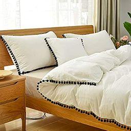 Softta White and Black Pom Pom Bedding Set Ruffle Twin Girls Duvet Cover Baby Teen 3 Pcs Vintage ... | Amazon (US)