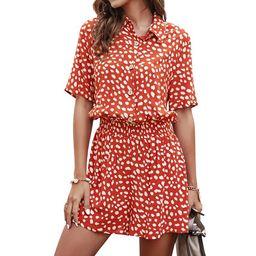 Women Polka Dots Printed Lapel Collar Buttons Elastic Waist Romper | Walmart (US)