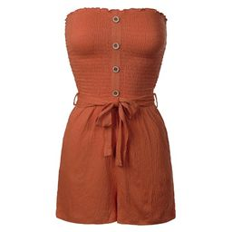 Made by Olivia Women's Front Self Tie Short Smocked Tube Romper | Walmart (US)