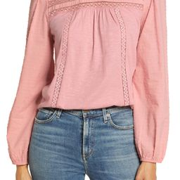 Pintuck Lace Detail Long Sleeve Cotton Blouse | Nordstrom