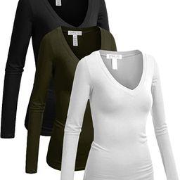 Emmalise Women's Junior and Plus Size Vneck Tshirt Long Sleeves Shirt Tee   Amazon (US)