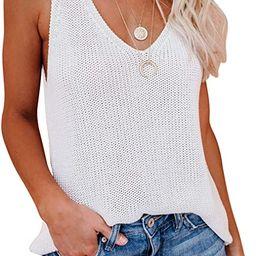 CANIKAT Women's Halter Tank Tops Casual Loose Knit Cami Sleeveless Shirts Blouses | Amazon (US)