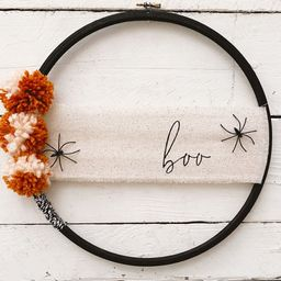 Modern Halloween Hoop Wreath// Boo Wreath// Fall Wreath// | Etsy | Etsy (US)