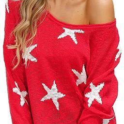 Yidarton Womens Sweater Casual V Neck Baggy Long Sleeve Star Pullover Shirts Tops | Amazon (US)