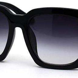 Womens Boyfriend Style Oversize Horned Rim Thick Plastic Sunglasses | Amazon (US)