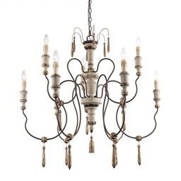 """LNC Distressed 2-Tier White Wood Chandeliers with Wood Pendants, D39""""H38 9-Light French Country C... 