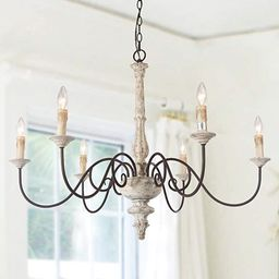 LALUZ Farmhouse Chandelier Large Hanging Fixtures for Living Room Distressed Wood French Country ... | Amazon (US)