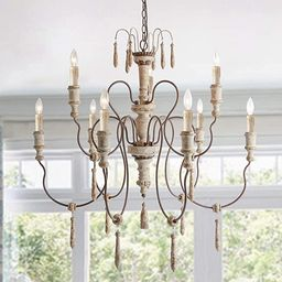 LALUZ A03483 Farmhouse Wood Chandeliers for Dining Rooms 9 Distressed French Country Lighting, D3... | Amazon (US)