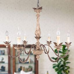 French Traditional Elegant Wood and Iron Chandelier, 6-Light Distressed White and Bronze Pendant ... | Amazon (US)