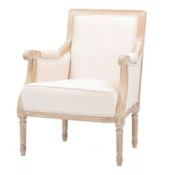 Chavanon Wood & Linen Traditional French Accent Chair Light Beige - Baxton Studio | Target