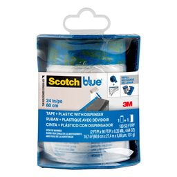 3M ScotchBlue 24 in. x 30 yd. Pre-Taped Painter's Plastic with Edge-Lock and Dispenser-PTD2093EL-... | The Home Depot
