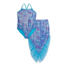 Wonder Nation Girls 4-18 & Plus Mermaid One-Piece Swimsuit and Mermaid Tail Cover-up, 2-Piece Set | Walmart (US)
