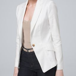 Women's Linen Blazer by White House Black Market, White, Size 10 | White House Black Market