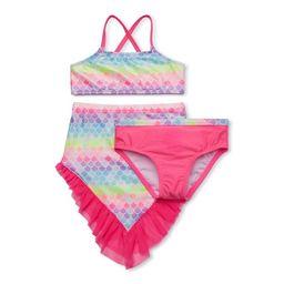Wonder Nation Baby Toddler Girl Mermaid Bikini Swimsuit & Skirt, 3pc Set | Walmart (US)