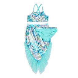 Wonder Nation Girls Mermaid Bikini Swimsuit and Mermaid Tail Cover-up, 3-Piece Set (Little Girls ... | Walmart (US)