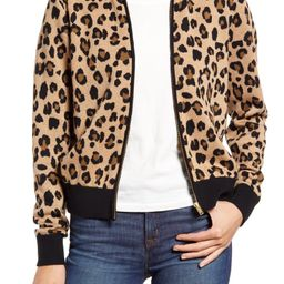 Leopard Bomber Sweater Jacket   Nordstrom