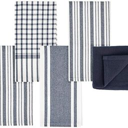 mDesign Kitchen Towel Set, 100% Cotton, Waffle Texture and Striped Pattern, Store in Drawers, Cab...   Amazon (US)