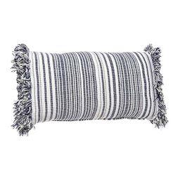 Blue Stripe Fringe Lumbar Pillow   Kirkland's Home