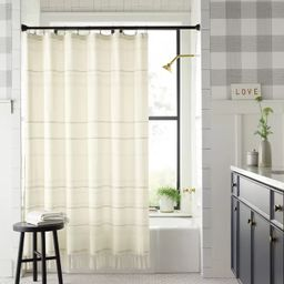 Woven Stripe Knotted Fringe Shower Curtain - Hearth & Hand™ with Magnolia   Target