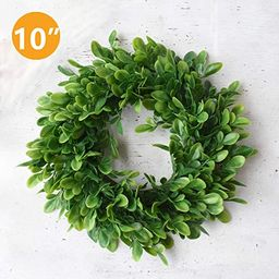 """10"""" Boxwood Wreath for Front Door,Artificial Greenery Wreath,Premium Round Green Leaves Small Wre...   Amazon (US)"""