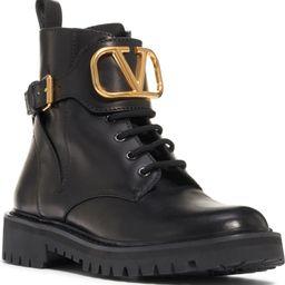 V-Logo Buckle Combat Boot | Nordstrom