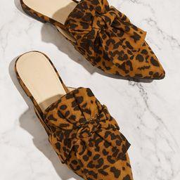 Knot Decor Leopard Flat Mules   SHEIN