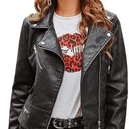 SheIn Women's Zipper Front Casual PU Leather Cropped Jacket Long Sleeve Bolero   Amazon (US)