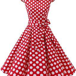 DRESSTELLS Women's Vintage Tea Dress Prom Swing Cocktail Party Dress with Cap-Sleeves | Amazon (US)