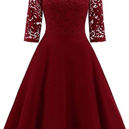 retro stage Women's 1950s Lace Off Shoulder Vintage Dress Prom Swing Cocktail Party Dress Wine Re... | Amazon (US)