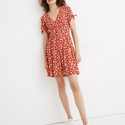 Button-Front Tie-Sleeve Retro Dress in Happy Hibiscus | Madewell