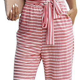 Women's Short Sleeve Wrap V Neck Striped Jumpsuit Wide Leg Pants Loose Romper with Pockets and ... | Amazon (US)