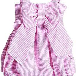 Baby Girls Striped Seersucker Bubble Straps Ruffle Layers Bowknot Romper | Amazon (US)