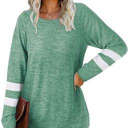 NSQTBA Womens Crewneck Sweatshirts Color Block Long Sleeve Sweaters Tunic Tops   Amazon (US)