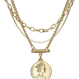 Coin Necklace 3PCS Gold Plated Snake Chain Choker Queen Elizabeth Round Pendant Mother Valentine'... | Amazon (US)