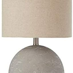 """Stone & Beam Industrial Decor Round Concrete Table Desk Lamp with Light Bulb and Beige Shade, 16""""... 