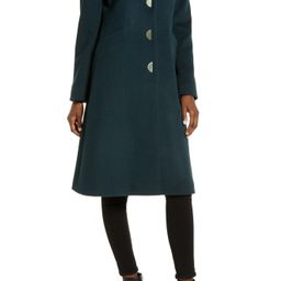 Women's Via Spiga Notch Collar Wool Blend Coat, Size 12 - Green   Nordstrom