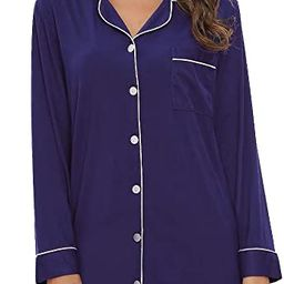 Nightgown Women Nightshirt Long Sleeve Sleep Shirts Boyfriend Sleepwear Button Down Sleep Dress S...   Amazon (US)