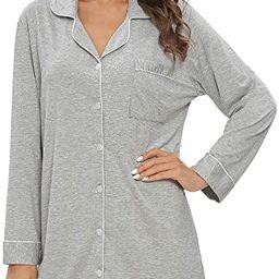 Nightgowns for Women Pajama Sleepdress Long Sleeve Button Down Boyfriend Nightshirts   Amazon (US)