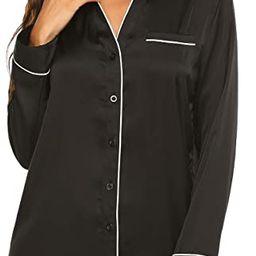 Sleepwear Long Sleeve Nightshirt Satin Sleepshirt Button Front Pajama Top for Women   Amazon (US)