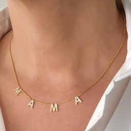 Mama Necklace Pave Letter Mama Necklace CZ Mama Necklace   Etsy   Etsy (US)