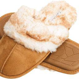Women's Comfy Faux Fur House Slipper Scuff Memory Foam Slip on Anti-skid Sole   Amazon (US)
