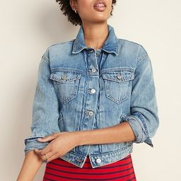 Cropped Medium-Wash Jean Jacket for Women | Old Navy (US)