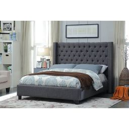 Willene Upholstered Platform Bed Three Posts™ Teen Size: Twin, Color: Gray   Wayfair North America